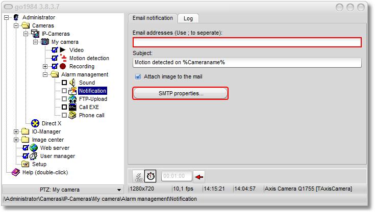 go1984 > Additional settings > SMTP server configuration